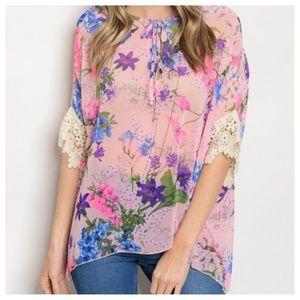 Pink Multi-color Floral Blouse Crochet Top S-M